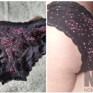 Baumwolle Slip schwarz mit roten Muster