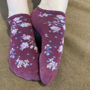 Socken Rot mit Blümchen